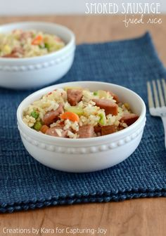 Smoked Sausage Fried Rice Recipe!  Perfect easy dinner idea!
