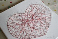 A simplified version of the amazing String Art Hearts you see on Pinterest that even small children can help make or you can make as a family.