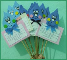 Lembrancinha para projeto água | Pra Gente Miúda Kids Crafts, Diy And Crafts, Arts And Crafts, Earth Day Crafts, World Crafts, School Projects, Projects To Try, Save Our Earth, Puppet Crafts