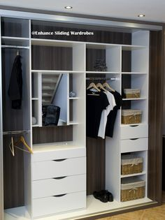 White fitted interiors - walk in wardrobe, shelves, hanging, drawers #storage #wardrobe // Designed by Enhance Sliding Wardrobes www.enhanceslidingwardrobes.com