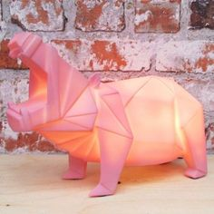 Pink Hippo Lamp - funky animal desk lamp - Disaster Designs