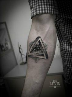Eye in Triangle Tattoo by Ien Levin