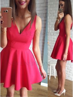 Red stain Homecoming Dresses,Short prom dresses,Simple Party dresses