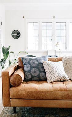 SVEN 'Charme Tan' sofa (via Wit & Delight) living space bright farmhouse southern Living Room Sofa, Home Living Room, Living Room Furniture, Living Room Designs, Modern Furniture, Furniture Design, Mission Furniture, Furniture Knobs, Furniture Dolly