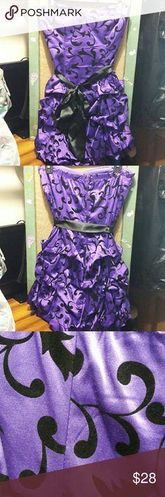 Ruby Rox Purple Satin Strapless Dress Purple Satin dress with felt design. Black Satin Ribbon. Ruby Rox Dresses Strapless