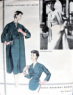 1950s STUNNING Patou Slim Dress and Coat Pattern VOGUE Paris Original Model 1271 Perfect Day or Cocktail Evening Party Dress and Coat Bust 30 Vintage Sewing Pattern