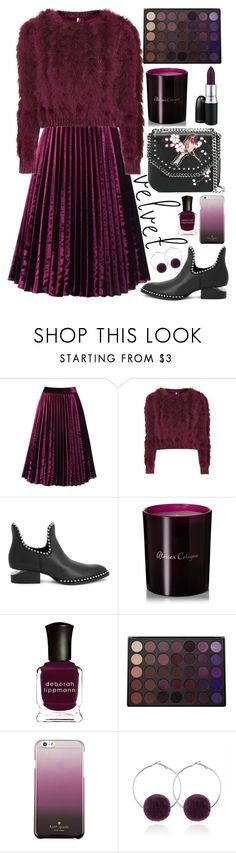 """Crushing on Velvet"" by kika-lv ❤ liked on Polyvore featuring Topshop, Alexander Wang, Atelier Cologne, Deborah Lippmann, Morphe, Kate Spade and STELLA McCARTNEY"