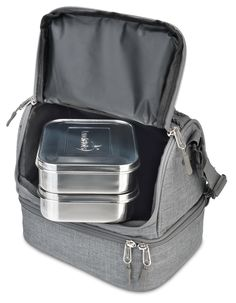 Amazon.com: LunchBots Duplex Insulated Lunch Bag - Two Sections Fit All LunchBots Containers Perfectly - Gray with Blue Trim - Fits Uno, Duo, Trio, Quad, Rounds, Bento, Thermal: Kitchen & Dining