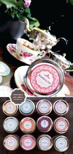 Canning/Mason Jars Printables ~ Free Printable Mason Jar Labels - This is really a great collection of Pantry labels. Canning Jar Labels, Pantry Labels, Kitchen Labels, Jam Jar Labels, Pantry Diy, Spice Labels, Food Labels, Mason Jars, Mason Jar Crafts