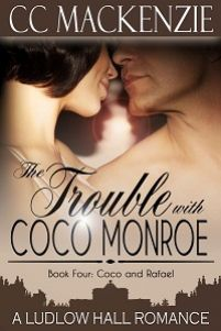 The Trouble with Coco Monroe by CC MacKenzie.  Meet Coco Monroe in the fourth book of the Ludlow Hall Romance series and settle in for a fantastic contemporary romance!