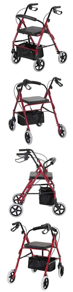 Walkers and Canes: Adjustable Rollator Rolling Medical Walker Soft Seat Curved Back 4 Wheels F4h3 -> BUY IT NOW ONLY: $33.99 on eBay!