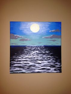 "Original Acrylic Canvas Painting 12""x12"" Sunset on Etsy, $50.00"