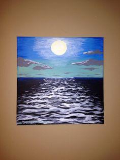 """Original Acrylic Canvas Painting 12""""x12"""" Sunset on Etsy, $50.00"""