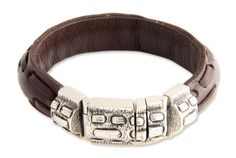 846c962ca873 Woodsman Men s Sterling Silver and Leather Wristband Bracelet Pulseras De  Cuero
