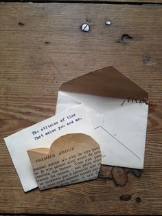 Hand made love letters and cards that will be kept forever for the person you love. Made from Vintage papers, books and music sheeting