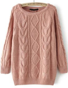 Pink Long Sleeve Cable Knit Loose Sweater - abaday.com