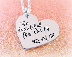 Too Beautiful for Earth Pregnancy Loss Necklace - Child Loss Jewelry - Stillbirth Miscarriage Necklace - Personalized Heart Angel Wing Gifts