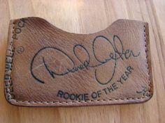 Derek Jeter Baseball Glove Credit Business Card Wallet Hand Crafted from old Derek Jeter Rookie of the Year baseball glove.
