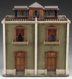 Dollhouse | Unattributed Wood 2-Story 4 Rooms Brick Rooftop