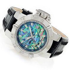 630-567 - Invicta Women's Subaqua Noma III Swiss Made Quartz Abalone Dial Leather Strap Watch,  Evine  $326 now $228.