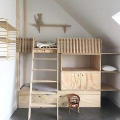 Loft bed for the children& room- Hochbett fürs Kinderzimmer Loft bed for the children& room - Modern Bunk Beds, Cool Bunk Beds, Kids Bunk Beds, Loft Beds, Loft Spaces, Kid Spaces, Kids Room Design, Room Kids, Kidsroom