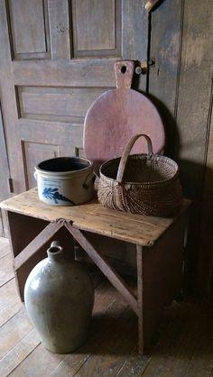 Primitive Breadboard, Crocks and Basket