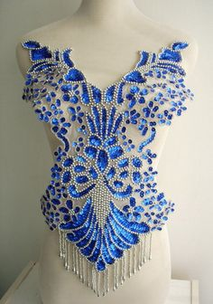 Pretty Blue Bodice would look amazing on a white wedding dress! Samba Costume, Latin Dance Dresses, Lesage, Belly Dance Costumes, Ballroom Dress, Skating Dresses, Dance Outfits, Lace Applique, Costume Design