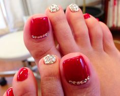 Cherry red with sparkles.