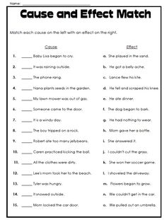 Super Teacher has printable cause and effect worksheets. Check out this worksheet where students can play a matching game while learning the relationship between cause and effect! Reading Lessons, Reading Activities, Reading Skills, Teaching Reading, Writing Skills, Teaching Art, Cause And Effect Worksheets, Cause And Effect Activities, Cause And Effect Examples