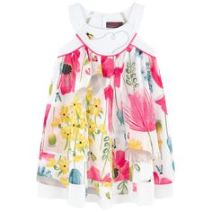 Cotton voile Sleeveless shape Envelope neckline Layered flounces Flared hem Buttons in the back Flower print Patterns can be placed randomly on each dress Embroidery Logo patch at the back - 75,00 €
