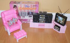 GLORIA Doll HOUSE Furniture ENTERTAINMENT W/Hi-Fi TV PLAYSET FOR BARBIE