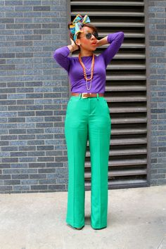 tricolor purple green and orange outfit