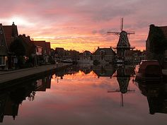 Just traced family back to Meppel, Netherlands. This photo is present-day Meppel at sunset. WANT TO GO.