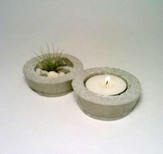 Concrete Air Plant Holder Tea Light Holder  by DeerwoodCreekGifts, $16.00