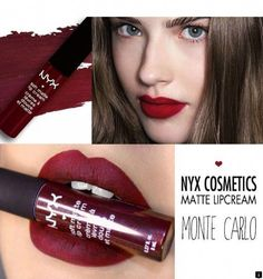 NYX Professional Makeup Soft Matte Lip Cream in Monte Carlo - lovely Christmas color! Dark Lipstick, Matte Lips, Lipstick Colors, Lip Colors, Liquid Lipstick, Stockholm, Nyx Soft Matte Lip Cream, Batons Matte, Makeup Dupes