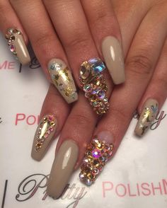 Nude Nailz With Gold and Silver Foil and Bling