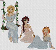 0 point de croix 3 jeunes femmes - cross stitch 3 young women