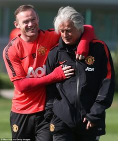 Wayne Rooney (left, with coach Marcel Bout) and his United team-mates are said to be pleas...