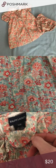 Ralph Lauren dress with diaper cover Gorgeous floral dress with great detail in excellent  condition Ralph Lauren Dresses