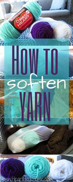 How to Soften Cheap and Scratchy Yarn Very handy to know! Click through for Ashlea's 'how to' on her blog Heart Hook Home.