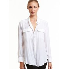 Mela Purdie Soft Pocket Shirt - Mousseline Every wardrobe needs the perfect shirt. Cut for a slightly loose fit that is comfortable but still flattering, this style features soft patch pockets, shirt collar and full length sleeve. Wear yours with skinny jeans or soft woven pants for a smart yet relaxed look.