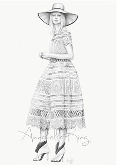 Fashion illustration of a look from Zimmermann Resort 2015 // Annabelle King Illustration Mode, Fashion Illustration Sketches, Photography Illustration, Fashion Sketchbook, Fashion Design Sketches, Sketch Design, Fashion Collage, Fashion Art, Boho Fashion