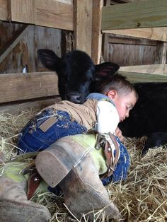 Little cowboy love. I hope the cow doesn't get butchered Animals For Kids, Farm Animals, Animals And Pets, Cute Animals, Funny Animals, Cute N Country, Country Life, Country Girls, Country Living