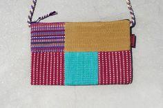 限量一件 天然手織布拼接斜背包 / 背包 / 肩背包 / 小包 / 旅行包 - 陽光手感繽紛色彩拼布