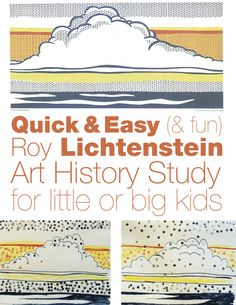 & Easy (& fun) Lichtenstein Study Pop art project for preschool and grade school kids. Perfect for a simple homeschool art history lesson.Pop art project for preschool and grade school kids. Perfect for a simple homeschool art history lesson. Art History Projects For Kids, Art History Lessons, History For Kids, School Art Projects, History Major, Pop Art History, Middle School Art, Art School, School Kids