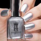 A-England Excalibur Renaissance Nail Polish (The Mythicals Collection). Silver nail varnish.