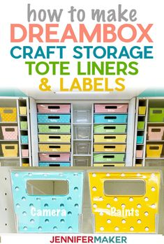 Make Dreambox Storage Tote Liners and Labels with Free SVG Cut Files #craftroom #organization #svgcutfile Vinyl Storage, Craft Room Storage, Craft Organization, Ribbon Storage, Tote Storage, Storage Ideas, Cricut Craft Room, Craft Rooms, Chalkboard Markers