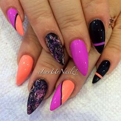 Orange, pink and black by ILuvUrNailz