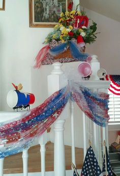 Memorial weekend barbecue. Fun decorations! The ants are carrying the cups down the staircase from the picnic basket.