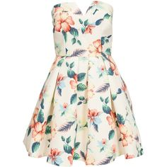 Ax Paris Bandeau Floral Skater Dress (100 CAD) ❤ liked on Polyvore featuring dresses, vestidos, floral, party dresses, womens-fashion, zipper back dress, floral print dress, flower pattern dress, floral printed dress and bandeau skater dress